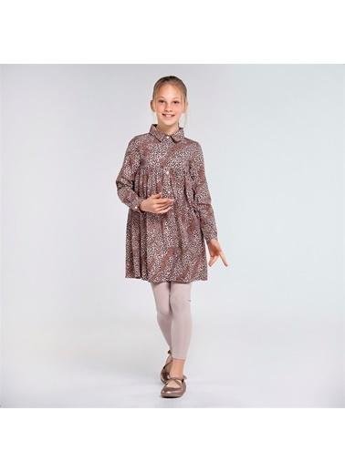 Mayoral Mayoral Kız Çocuk Leoparlı Elbise Kahve